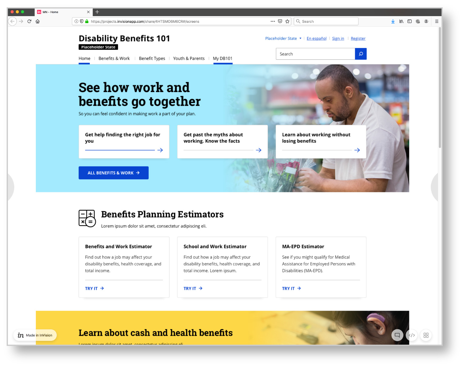 A screenshot of the home page of the Disability Benefits 101 web page.