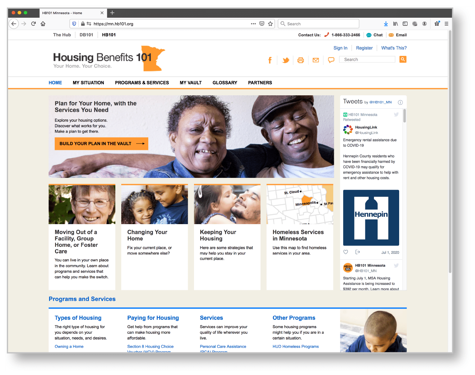 A screenshot of the home page of the Housing Benefits 101 web page.